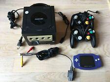 Gamecube schwarz mit Gameboy Player und Gameboy Advance
