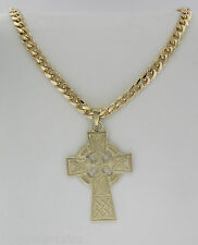 "14K Yellow Gold 24"" Curb Link Chain With A Celtic Cross Pendant"
