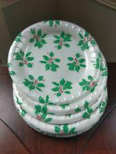 Vtg Holly Christmas Styrofoam Dinner Plates Holly Leaf Leaves Berry Berries 17ct