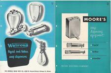 1958 Moore & Watrous Liquid Lather Soap Dispenser Bathroom Two Vintage Catalogs