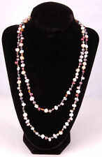 """Freshwater Pearl Necklace-Pearl & Bead-41""""-Clasp-White Purple"""