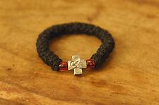 Elastic Orthodox Chotki Bracelet Prayer Rope Komboskini Metal Cross Red Bead