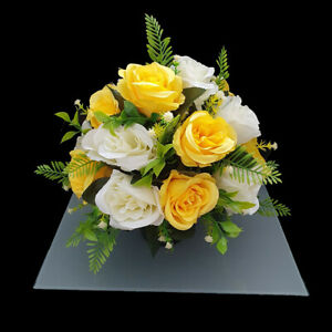 Grave Artificial/Silk Flower Open Rose Arrangement in Memorial Crem Pot Grave