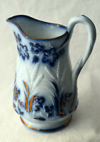 Antique English Flow Blue White Pottery Pitcher Gilt Gold Victorian Wheat Floral