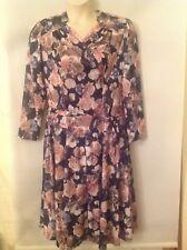 Vintage style dress size 16, Afibel Multi-coloured floral, Cross over front VGC.