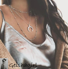 Silver Half Moon Ball Pendant Statement Boho Triple Multi Chain Necklace UK Sell
