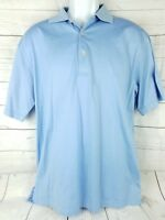 Peter Millar Mens Light Blue Polo Shirt 100% Cotton Size Medium Short Sleeve