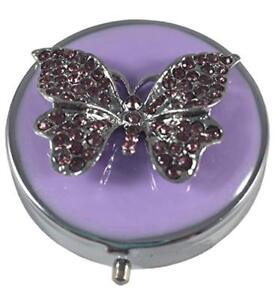 Purple Gemstone Butterfly Three Section Round Silver Pocket Travel Pill Case Box