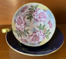 Aynsley Cobalt Blue Tea Cup Saucer Cabbage Roses In Bowl Gilt Gold Footed China