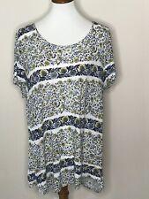 Lucky Brand XL Blue Yellow Floral Short Sleeve Women's Top Shirt