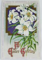 Vintage Color An Easter Greeting Embossed Easter Lillies 1920s?