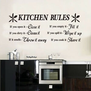 Kitchen Rules Wall Quotes Vinyl Sticker, DIY Wall Decal Waterproof HIGH QUALITY