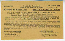 WWII Flier Ship USS Dayton Re Stolen Money Orders