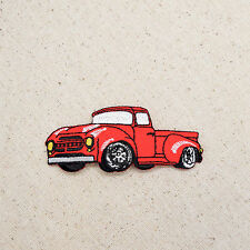 Iron On Embroidered Applique Patch Classic Red Truck 1950s Vintage