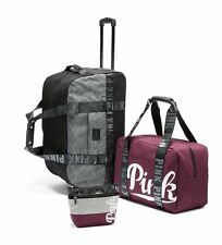 Victorias Secret PINK Orchid Red gray Luggage TRAVEL SET Wheelie Duffle Carry On