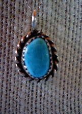 """STERLING SILVER SOUTHWEST STYLE TURQUOISE PENDANT 20"""" SS CHAIN"""