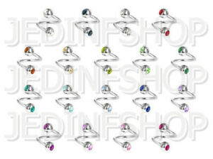 Twisted Barbell Spiral Ring   1.0mm (18g) - 8mm   Double Gem - 18 Colours