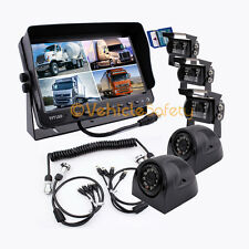 """4AV TRAILER CABLE 9"""" MONITOR WITH DVR 5 x REAR VIEW CAMERAS BACKUP SYSTEM SAFETY"""