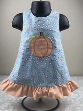 Candyland 9 Months Baby Girl Pumpkin Dress Jumper Fall Thanksgiving Blue Orange