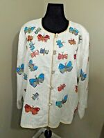 INDIGO MOON White 03215 Lined Butterfly Jacket Sz 2X