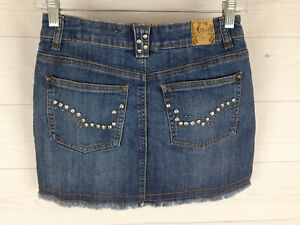 Candie's Embellished  womens size 0 blue raw hem button front mini jean skirt