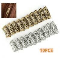 10pcs Hair Braid Dread Dreadlock Beads Cuff Tube Clips Women Metal Hair Jewelry