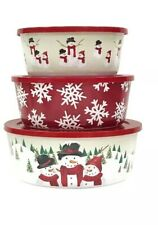 ST NIcholas Set Of 3 YuletideNested Bowls Christmas Snowman/Flake Containers