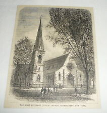 1879 magazine engraving ~ FIRST REFORMED DUTCH CHURCH Schenectady, New York