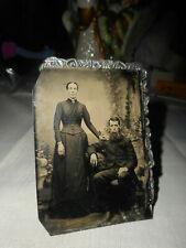 Antique Tintype Photo Of A Couple, He Big Bushy Beard, She Tall And Plain