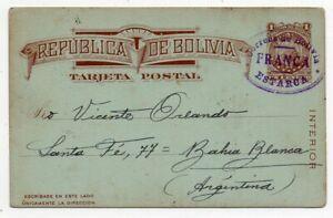 1919 BOLIVIA TO ARGENTINA ESPERANTO COVER, SUPERB ESTARCA FRANCA PMKS