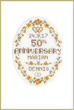 Cross stitch card for a Golden Wedding Anniversary - complete kit on 16 aida