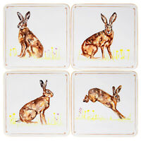 Set Of 4 Hares Cork Backed Coasters Home Kitchen Drinks Dining Mats Tableware