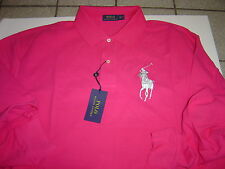 BIG MENS RALPH LAUREN HOT PINK W/SILVER LG PONY L/S POLO SHIRT SIZE 4XLT $110