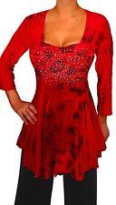 CF2 FUNFASH RED BLACK RHINESTONE EMPIRE WAIST TOP SHIRT WOMEN Plus Size 2X 18 20