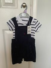6-9 Months Mothercare Baby Boy Shorts Dungaree Set Sailor Themed. Brand New