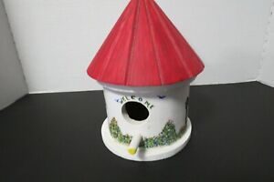 "Wooden Bird House Hand Made Hand Painted Welcome 9"" Tall 5.5"" Diameter"