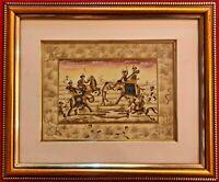 HandPainted Mughal Moghul Hunting Miniature Painting India Artwork Frame Fine