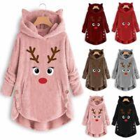 XMAS Womens Long Sleeve Sweatshirt Pullover Reindeer Christmas Jumper Tops New!