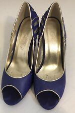 Ladies 38 / 7 Peeptoe Purple Gold Metallic Heels Shoes Party Formal EUC