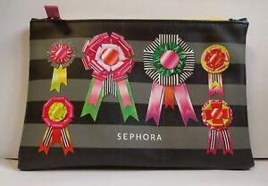 "NEW Sephora Cosmetic Makeup Bag ~ Black Pink Award Ribbons 5"" x 7.5"" Make-Up"