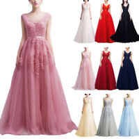 Women Lace Evening Cocktail Party Long Tulle Wedding Prom Ball Gown V Back Dress