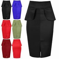 Ladies Womens Ponte Front Split Peplum Frill Hi Waist Pencil Bodycon Midi Skirt