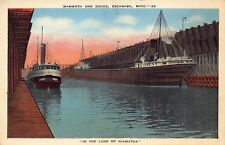 VTG POSTCARD STEAMER SHIP FREIGHTER MAMMOTH ORE DOCKS ESCANABA MICHIGAN MI 78