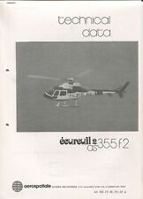 AEROSPATIALE ECUREUIL 2 AS 355 F2 HELICOPTER TECHINICAL DATA BROCHURE