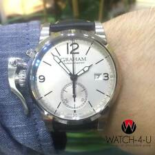 Unworn Graham Chronofighter AN-2CXAS Black Leather Strap White Dial Mens Watch