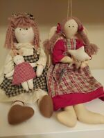 Lot of Two Vintage Primitive Country Rustic Raggedy Dolls Beautiful Christmas