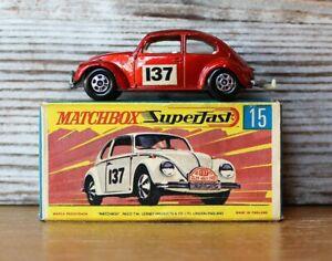 Matchbox Superfast No. 15 - Volkswagen 1500 Saloon Beetle 1968 with Original Box