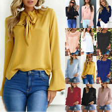 Women Ruffles Long Sleeve Chiffon T-Shirt Tops Loose Casual Ladies Blouse Shirt