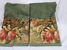 Raymond Waites  Tapestry FABRIC LEOPARD JUNGLE Hand Towels  /2 Custom Decorated