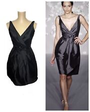 Lazaro Silky Taffeta Black Sleeveless Short Dress 4 Style 3032 USA